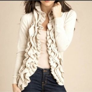 Romeo & Juliet Ruffle Front Cardigan S Ivory $158